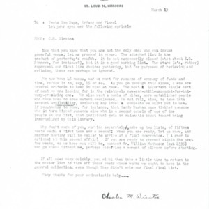 Typed letter, signed from Charles M. Winston to Mona Van Duyn, Constance Urdang, and Donald Finkel, March 13, [1964]