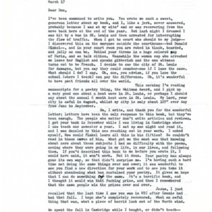 Typed letter, signed from Philip Levine to Donald Finkel, March 17, 1982
