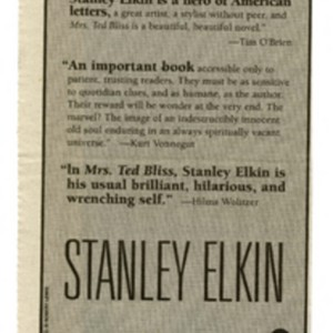 Advertisement clipping for <em>Mrs. Ted Bliss</em> by Stanley Elkin