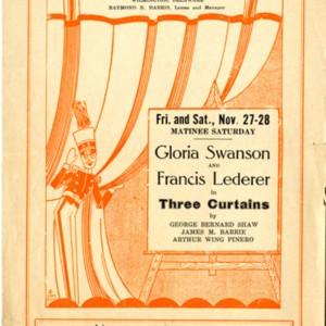 Playbill for <em>Three Curtains</em> at The Playhouse