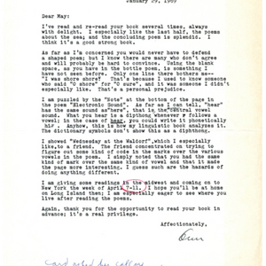 Typed letter, signed from Ann Stanford to May Swenson, January 29, 1969