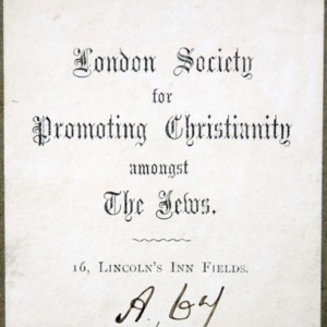 Bookplate of the library of the London Society for Promoting Christianity amongst the Jews