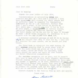 Typed letter, signed from Samuel Beckett to Henry Wenning, July 31, 1963