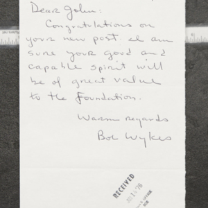 Letter from Bob Wykes to John Ervin