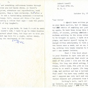 Typed letter, signed from Robert Lowell to Isabella Gardner, October 10, 1961