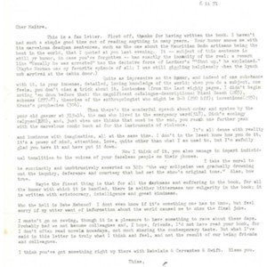 Typed letter, signed from Howard Nemerov to Stanley Elkin, February 6, 1971