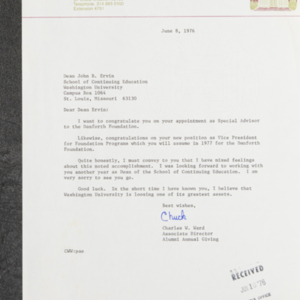 Letter from Charles W. Ward to Dean John B. Ervin