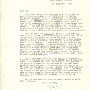 Typed letter, signed from William Jay Smith to James Dickey, September 24, 1958