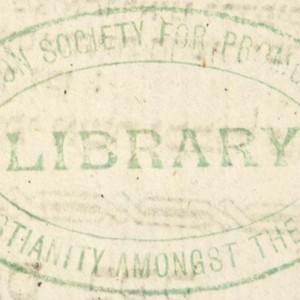 Bookstamp of the Library of the London Society for Promoting Christianity Amongst the Jews