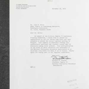 Letter from Richard S. Fischer to Dr. John D. Ervin