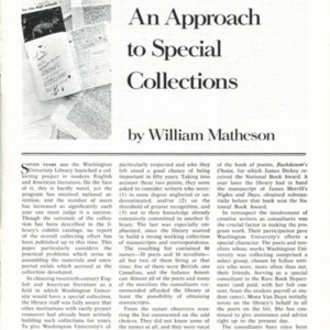 """An Approach to Special Collections"" by William Matheson"