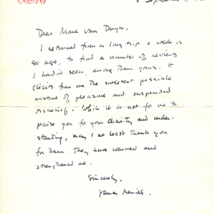 Autograph letter, signed from James Merrill to Mona Van Duyn, September 6, 1959