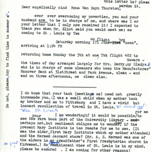 Typed letter, signed from Marianne Moore to Mona Van Duyn, May 27, 1967
