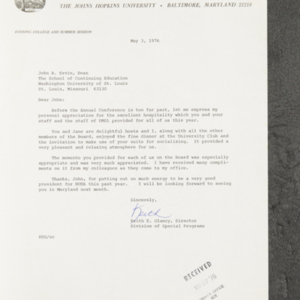 Letter from Keith E. Glancy to John B. Ervin, Dean
