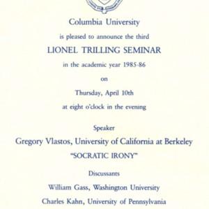 "Columbia University Lionel Trilling Seminar, ""Socratic Irony"""