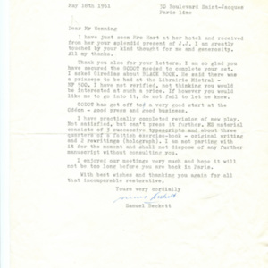 "<p class=""p1"">Samuel Beckett letter to Henry Wenning,<span class=""Apple-converted-space"">&nbsp;</span>1961: May 18</p>"