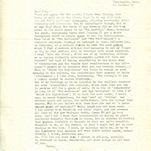 Typed letter, signed from James Merrill to James Dickey, October 12, 1959