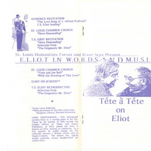 T.S. Eliot Centennial Celebration Program