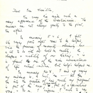 Autograph letter, signed from Ted Hughes to Iam Hamilton, no date