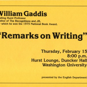 """Remarks on Writing"" featuring William Gaddis"