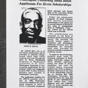 """Washington University Seeks Black Applicants For Ervin Scholarships"""