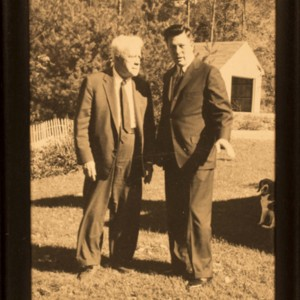 William Jay Smith with Robert Frost at Smith's farm in Vermont, 1960