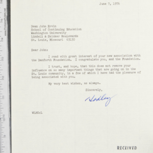 Letter from W. L. Hadley Griffin to Dean John Ervin