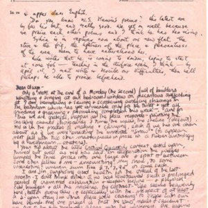 Autograph letter, signed from Sylvia Plath to Olwyn Hughes, circa February 1960