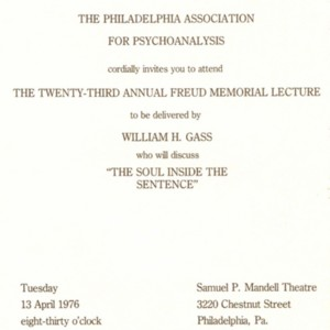 "The Philadelphia Association for Psychoanalysis 23rd Annual Freud Memorial Lecture ""The Soul Inside the Sentence"""