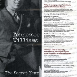 """Tennessee Williams: The Secret Year, International Symposium"""