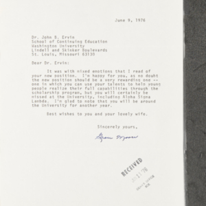 Letter from Grace Moore to Dr. John B. Ervin