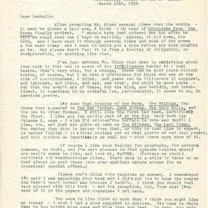 Typed letter, signed from Elizabeth Bishop to Isabella Gardner, March 18, 1956