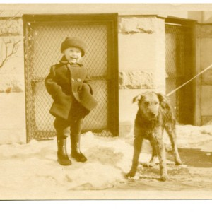 William Gaddis as a young boy with a dog