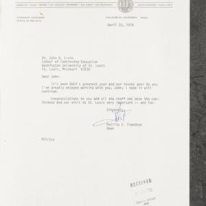 Letter from Phillip E. Frandson to Dr. John B. Ervin