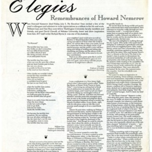 Elegies: Remembrances of Howard Nemerov, Riverfront Times, July 17-23, 1991