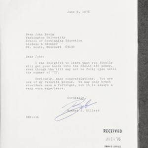 Letter from Robert E. Hillard to Dean John Ervin