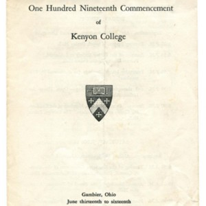 The One Hundred Nineteenth Commencement of Kenyon College