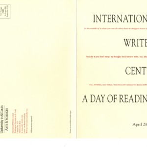 Program for International Writers Center: A Day of Readings, April 28, 2001