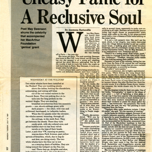 """Uneasy Fame For a Reclusive Soul"" by Anemona Hartocollis from <em>Newsday</em>, July 14, 1987."