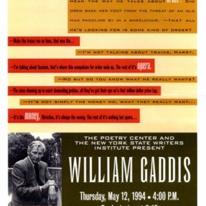 """The Poetry Center and the New York State Writers Institute Present William Gaddis"""