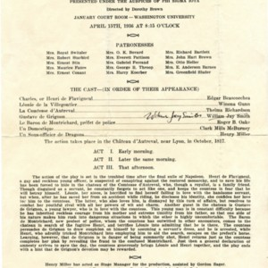 Program for <em>Bataille de Dames</em> at Washington University in St. Louis, April 15, 1936