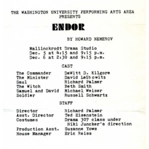 Playbill for <em>Endor</em> by Howard Nemerov