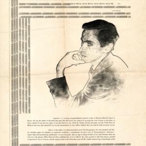 Page proof of article promoting William Gaddis and his first novel, <em>The Recognitions</em>