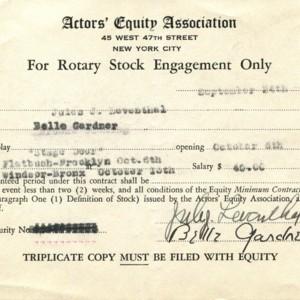 Actor's Equity Association card for the play <em>Stage Door</em>, September 24, 1942.