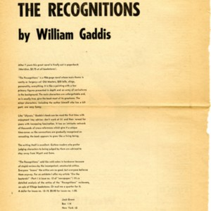 """The Recognitions by William Gaddis"""