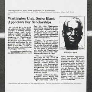 """Washington Univ. Seeks Black Applicants for Scholarships"""