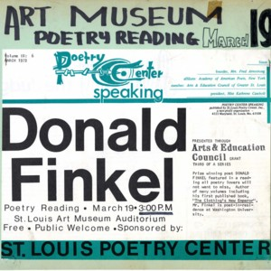 """Donald Finkel Poetry Reading"""