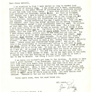 Typed letter, signed from James Dickey to James Merrill, December 6, 1959