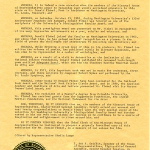 Missouri House of Representatives Resolution for Donald Finkel