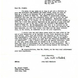 Typed letter, signed from John Hall Wheelock to Donald Finkel, May 12, 1958